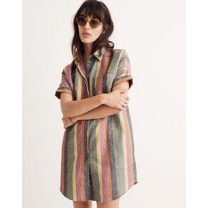 Madewell Courier Shirtdress in Rainbow Stripe NWT